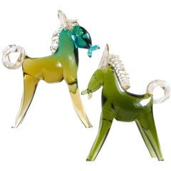 Alfredo Barbini Murano Sommerso Green Gold Italian Art Glass Horse Pony Set