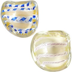 Archimede Seguso Murano Zanfirico Latticino Ribbons Italian Art Glass Dishes