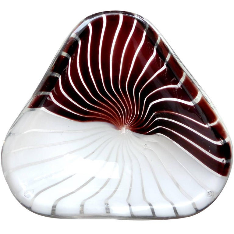 Dino Martens Aureliano Toso Murano Black White Italian Art Glass Dish Bowl
