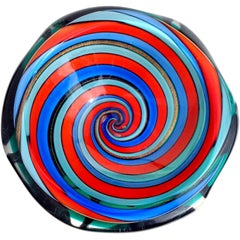 Murano Red Blue Aqua Optic Swirl Italian Art Glass Decorative Sculptural Bowl
