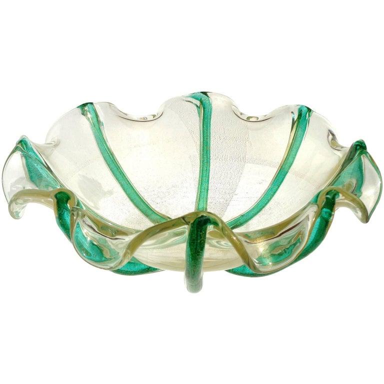 Archimede Seguso Murano Green Rods Gold Flecks Italian Art Glass Centre Bowl