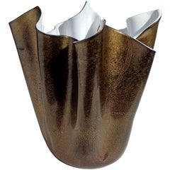 Murano Black White Gold Flecks Italian Art Glass Fazzoletto Sculptural Vase