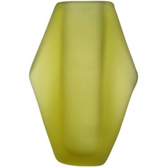 Fratelli Toso Murano Green Space Age Italian Art Satin Glass Flower Vase