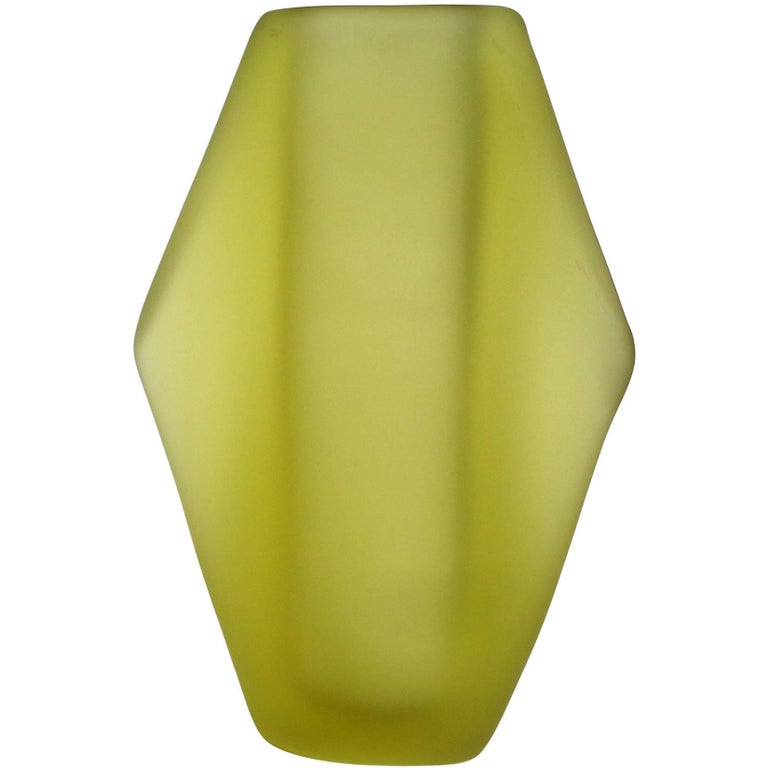 Fratelli Toso Murano Green Space Age Italian Art Satin Glass Flower