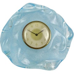Seguso Vetri d'Arte Murano Blue Pulegoso Bubbles Italian Art Glass Desk Clock