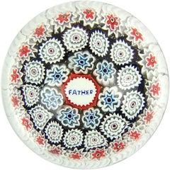 Fratelli Toso Murano Millefiori Father Murrine Italian Art Glass Paperweight