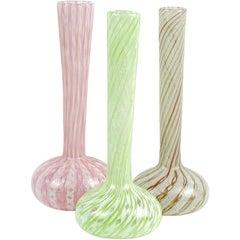 Fratelli Toso Murano Pink Green Ribbon Italian Art Glass Specimen Flower Vases