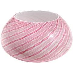 Fratelli Toso Murano Pink Zanfirico Twist Ribbons Italian Art Glass Flower Vase