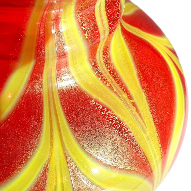 Hand-Crafted Murano Red Yellow Pulled Feather Gold Italian Art Glass Ruffle Rim Flower Vase For Sale
