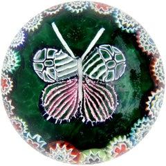 Fratelli Toso Murano Millefiori Mosaic Butterfly Italian Art Glass Paperweight