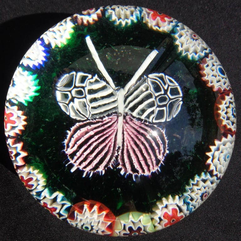 Hand-Crafted Fratelli Toso Murano Millefiori Mosaic Butterfly Italian Art Glass Paperweight For Sale