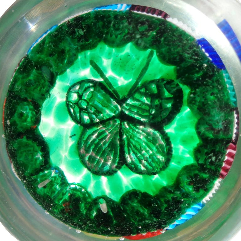Fratelli Toso Murano Millefiori Mosaic Butterfly Italian Art Glass Paperweight In Excellent Condition For Sale In Kissimmee, FL