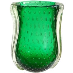Barovier Toso Murano Green Iridescent Gold Flecks Italian Art Glass Vase