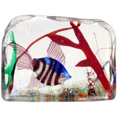 Murano Silver Striped Fish and Coral Italian Art Glass Aquarium Block Sculpture