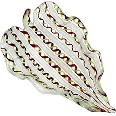 Murano Yellow Purple Zanfirico Ribbons Italian Art Glass Sculptural Leaf Bowl