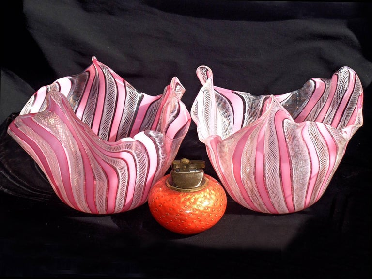Priced per item. Gorgeous Murano handblown pink, white, and aventurine ribbons art glass handkerchief / fazzoletto vases. Documented to the Fratelli Toso company. Made with pink