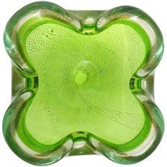 Murano Sommerso Green Gold Flecks Italian Art Glass Decorative Folded Rim Bowl