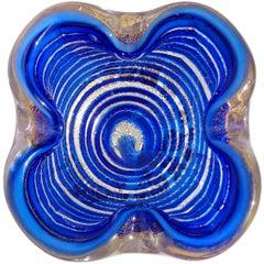 Barovier Toso Murano Sapphire Blue Swirl Gold Flecks Italian Art Glass Bowl Dish
