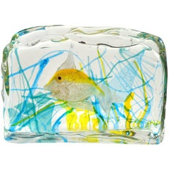 Cenedese Murano Yellow Gold Fish Italian Art Glass Aquarium Block Sculpture