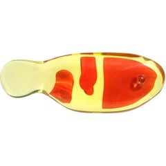 Murano Orange Yellow Italian Art Glass Uranium Art Glass Koi Fish Sculpture