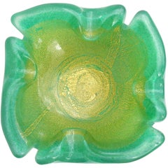 Barovier Toso Murano Green Gold Italian Art Glass Cut Rim Bowl Dish Ashtray
