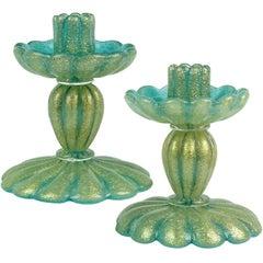 Seguso Vetri d'Arte Green Pulegoso Gold Flecks Italian Art Glass Candlesticks