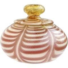 Murano Purple Pulled Feather Gold Flecks Italian Art Glass Vanity Powder Box