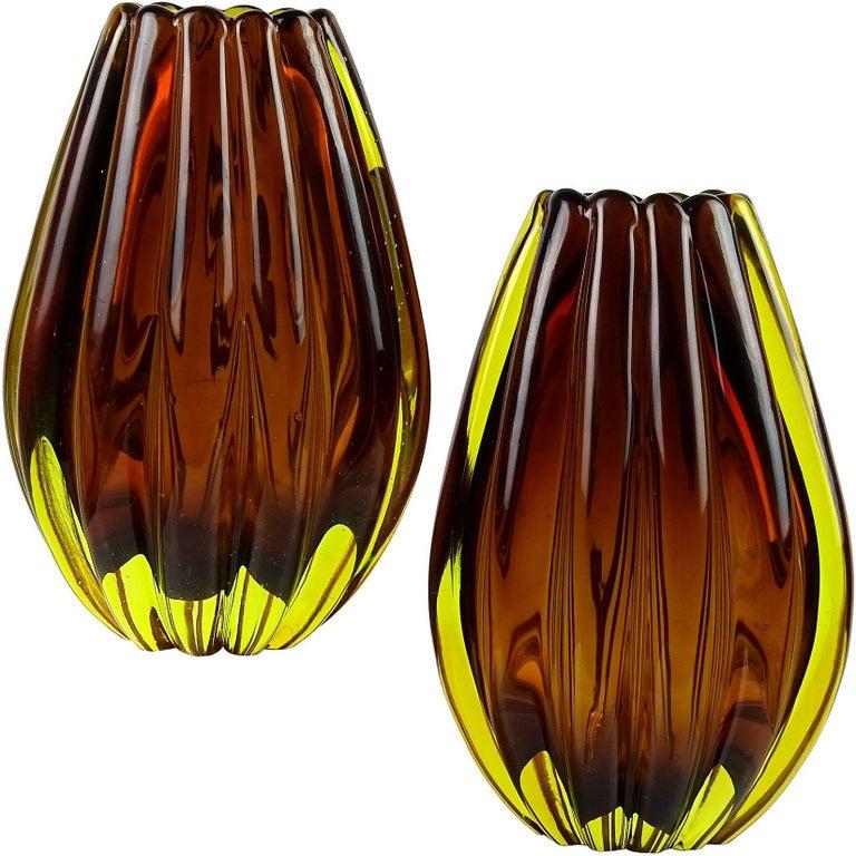 Flavio Poli Seguso Vetri D'Arte Murano Sommerso Italian Art Glass Flower Vases For Sale