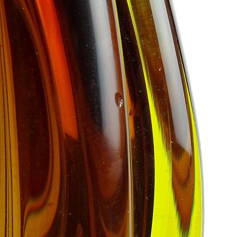 Flavio Poli Seguso Vetri D'Arte Murano Sommerso Italian Art Glass Flower Vases In Excellent Condition For Sale In Kissimmee, FL