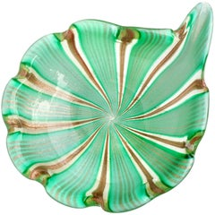 Murano Green Aventurine Gold Flecks Ribbons Italian Art Glass Decorative Bowl