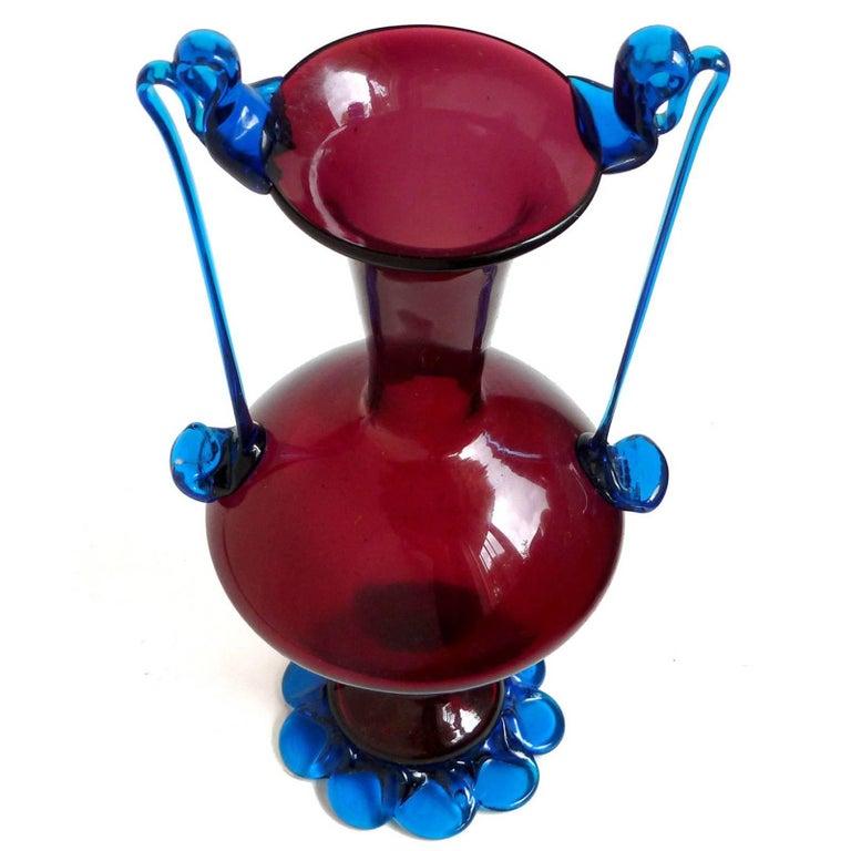 Art Nouveau Murano Venetian Red and Blue Ornate Handles Italian Art Glass Flower Vase