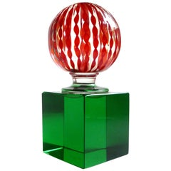 Paolo Venini Signed Murano Red Filigrana Ribbons Italian Art Glass Paperweight