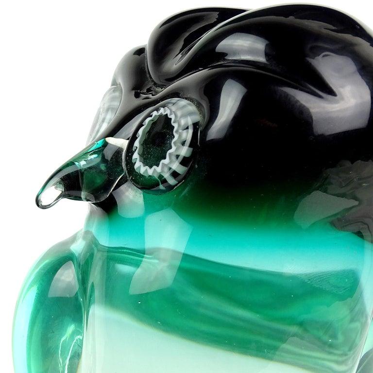 Hand-Crafted Salviati Murano Sommerso Green Murrine Eye Italian Art Glass Owl Bird Sculpture For Sale