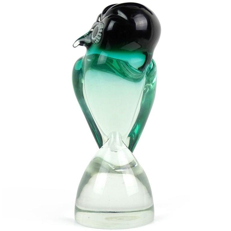 Mid-Century Modern Salviati Murano Sommerso Green Murrine Eye Italian Art Glass Owl Bird Sculpture For Sale