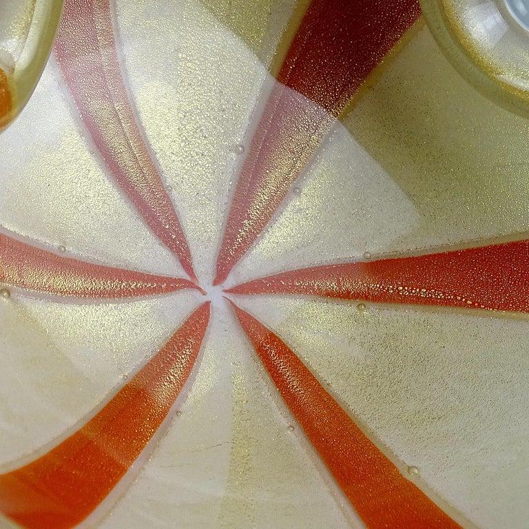 Hand-Crafted Alfredo Barbini Murano Orange White Gold Fleck Italian Art Glass Decorative Bowl For Sale