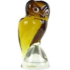 Salviati Murano Sommerso Amber Murrine Eye Italian Art Glass Owl Bird Sculpture