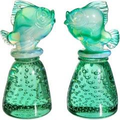 Seguso Vetri d'Arte Murano Opalescent Green Italian Art Glass Fish Paperweights