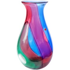 Archimede Seguso Signed Murano Blue Red Green Carnevale Italian Art Glass Vase