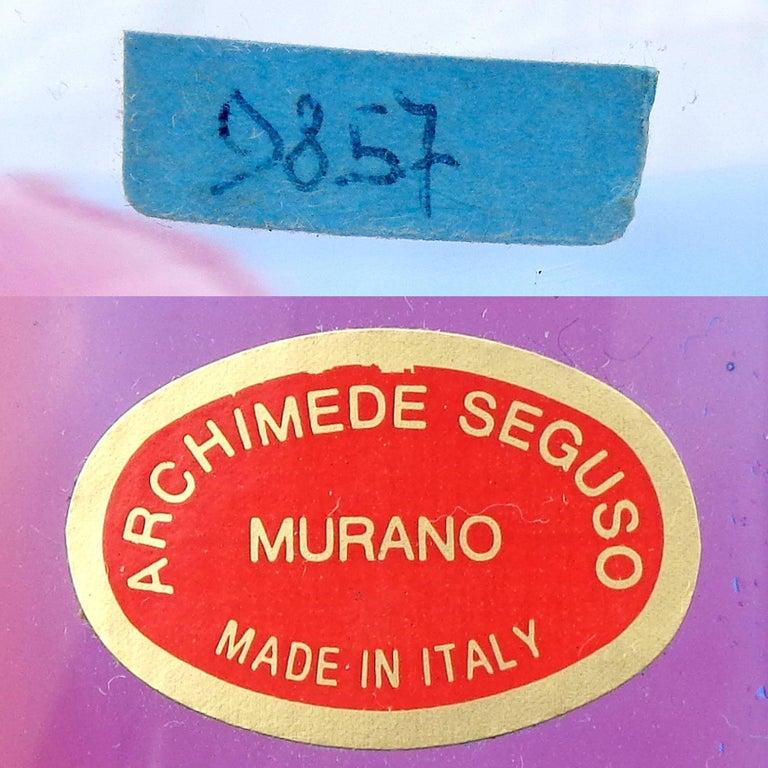 Archimede Seguso Signed Murano Blue Red Green Carnevale Italian Art Glass Vase For Sale 1