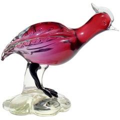 Murano Sommerso Red Amethyst Italian Art Glass Bird Sculpture Figure