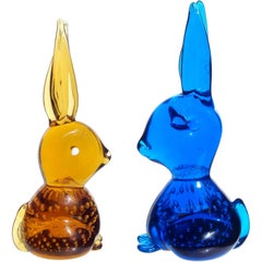 Golden Amber and Cobalt Blue Bubbles Italian Art Glass Bunny Rabbit Figurines