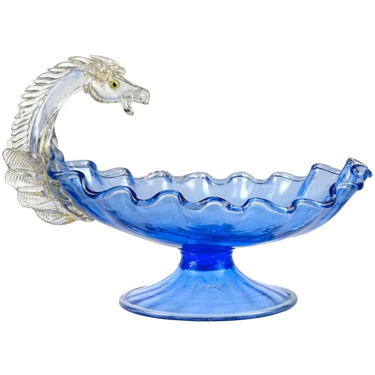 Venetian Blue Gold Flecks Pegasus Italian Art Glass Centrepiece Compote Bowl For Sale