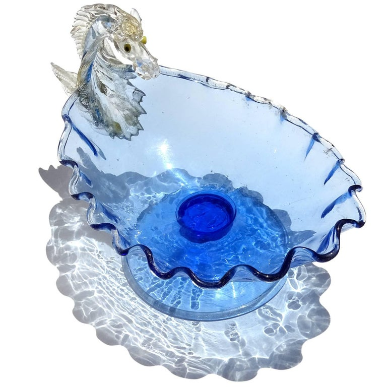 Antique early Venetian cobalt blue with gold accents Italian art glass Pegasus horse compote bowl. Attributed to the Artisti Barovier / Fratelli Toso companies, as published in the book