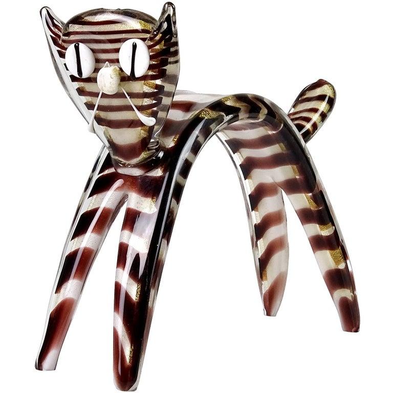 Murano Gold Flecks Striped Italian Art Glass Scared Kitty Cat Figure Sculpture