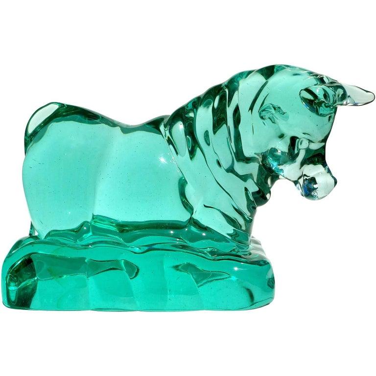 Seguso Vetri d'Arte Murano Green Italian Art Glass Taurus Bull Figure Sculpture