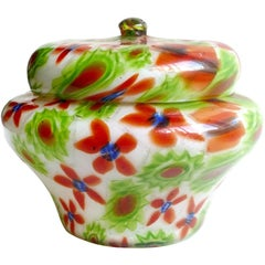 Fratelli Toso Murano Millefiori Flower Mosaic Italian Art Glass Powder Box