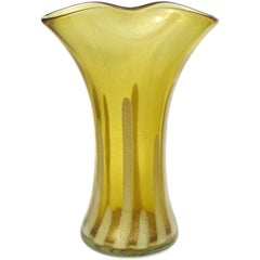 Alfredo Barbini Murano Olive Green Gold Flecks Italian Art Glass Flower Vase