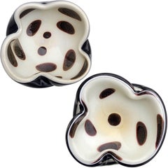 Alfredo Barbini Murano White Gold Flecks Black Spots Italian Art Glass Bowls