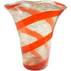 Fratelli Toso Murano Red Orange Stripe Aventurine Flecks Italian Art Glass Vase