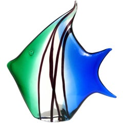 Archimede Seguso Murano Signed Blue Green Italian Art Glass Angel Fish Sculpture